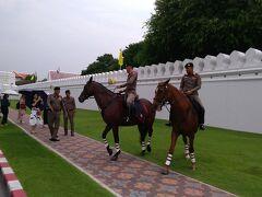 王宮の近くで、馬に乗って警備している警官?軍人?がいました。