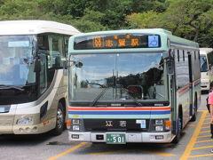 ★びわ湖テラス★ 帰りは江若交通の路線バス、びわ湖バレイ→志賀駅  ぎゅうぎゅうのバスです。いったん乗ったら降りられない状態で発車まで15分待ちました。