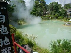 白池地獄 噴出する熱湯が池に落ちると、温度、圧力低下で青白く変化すると書いてあった。