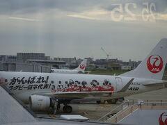 伊丹空港  ラグビーワールドカップの宣伝機  急遽夕方に出発するのはもったいないが、 変更できてよかったです。