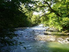 奥入瀬川が見られる場所までやって来ました。 このまま川沿いを歩こうと思うのですが...
