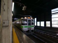 ★10:40  そして札幌からいよいよJR線の旅がスタート。岩見沢行き区間快速いしかりライナーは721系のエアポート用車両。つまり4号車は…