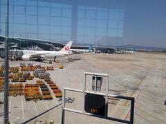 空港にはJALも見える。 今回も共同運航が多い。 中国で今年2月、5月、9月と最近搭乗した機体は みんな新しかった。 羽田は近場なので座席にモニターはなかった。