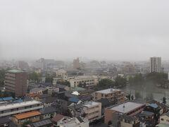 翌朝、7時45分起床。 雨で霞んで見えないが、画像中央あたりが与野本町駅。