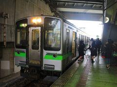 ★13:17  無事に今宵の宿のある「燕三条」に到着。弥彦線の列車は学生さんで賑わっており、台風が来ているとは思えない、いつも通りの日常がここにありました。