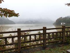 赤谷湖の湖面は土色に濁っていました。台風が過ぎ去った後の為、ダムは満水に水を湛えていました。晴れていたなら錦秋の赤谷湖だったに違いない。また、湖面も水色で美しかったでしょう。