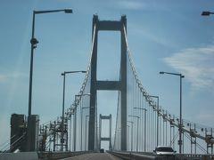 10/21(火) 国道37号線を走って白鳥新道から室蘭港を跨ぐ「白鳥大橋」を渡ります~、  対岸の絵鞆半島にある祝津町を結ぶ東日本最大の吊り橋で全長1380m、高さ140mとスケールがデカイ規模です。