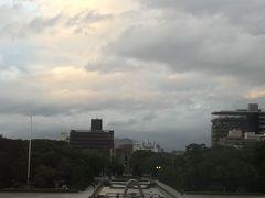 資料館から見た平和記念公園 資料館を閉館の45分前ぐらいに入館