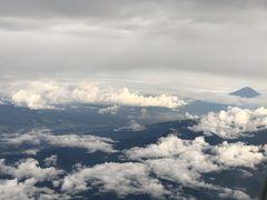 フライト時間は1時間50分。  到着30分前に、富士山が見えるはずなんだけど、今日はちょっと雲が多いからな~。  ※丘珠発の場合は左側の座席だと富士山が見えます。  帰りは逆、右側の座席です。