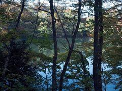 白神山地・十二湖 車窓より十二湖の風景 王池・中ノ池・落口ノ池