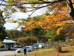 霧降の滝入り口の駐車場。 ようやく紅葉らしい紅葉に出会えたよ。 日光駅から約3.4km、標高は770mで、日光駅より200m以上高い。