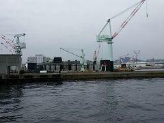 遊覧船からの川崎重工・潜水艦ドッグ