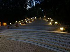 暗くなった香港公園を通って。