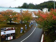 京都から園部駅まで、快速で36分。そこからホテルのシャトルバスで渓谷沿いの山道を上がり、約30分でホテルに到着。山の中なのに、意外に開けている。