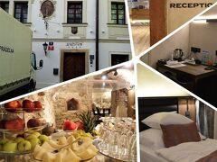 そんなこんなでプラハの朝。  泊まったホテル ワルズテインは たしか10数室しかないはずだけど、 よくぞこんなに用意してくれた~という 朝食が素晴らしかった~.☆*  ハムとチーズとフルーツを 全種類いただいてたら えらく時間がかかったわ ('◇')ゞ
