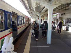 喜多方駅に到着です。 あんた、ここで食べたいものがあるからちょっと急ぐよ!