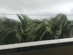 朝起きると こんな天気 台風はカンボジアに抜けたというのですが…  天気にかかわらず 早朝からツアーバスは出発 ミーソン遺跡にむかいます