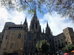 華麗なゴシック様式のカテドラル(サンタ エウラリア大聖堂)は旧市街のシンボル。 カテドラル前の広場では、青空市場が出ていました。