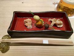 【鮨 千陽】 http://sushi-chiharu.jp/  前菜三種 鯛の子,げその胡麻和えなど。