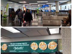 9時30分に着陸して、さっさとパスポートコントロールを抜け、ターンテーブルまで約20分。ちっちゃい空港やな。でっかいシニッツェルの看板がお出迎え。