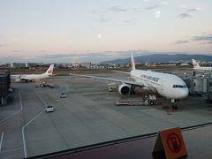 伊丹空港到着時は小雨。成田行きは8時の出発ですが国際線乗り継ぎなので早めのチェックインが必要。空港が開いてすぐにチェックインしたのでラウンジ入って少しで夜が明けてきました。全クラス満席とのことでアップグレード出来ず。