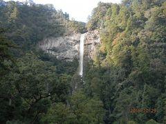 那智の滝遠望。日本三大名瀑の一つで日本一の落差133mを誇る。銚子口の幅13m、滝壺の深さ10m、水量1トン毎秒。1100年あまり前から修験者の道場となった。世界遺産、国の名勝である。
