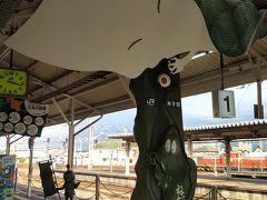 米子駅に到着しました。 境港線の0番線ホームは一反もめんが出迎えます。