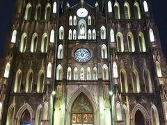 帰りは早かったです。2時間ほどでハノイ大聖堂に。 ホテルではなくここに降ろしてもらいました。  夜は週末でもあってか、人が多いです。