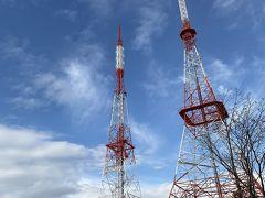 天都山にはテレビなどの塔が4本建っている。 昔から展望台として親しまれている場所。