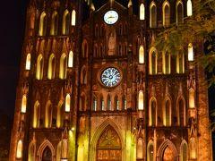 聖ヨセフ大聖堂  ハノイの美しいシンボリックも見納めです☆ この時間帯はミサが行われているのかたくさんの人で賑わってますね。