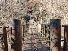 花貫渓谷の汐見滝吊り橋。紅葉はすでに終わっています。まあ、当たり前か。