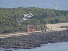 遠くに見える鳥居は、地図を見ると青島神社のようです。