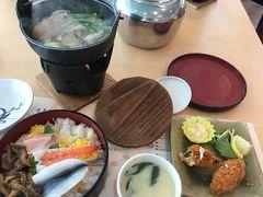 昼食は 牡蠣鍋 祭り寿司 ワカメいっぱいの茶碗蒸し