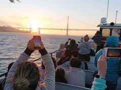 ちょうど、ゴールデンゲートブリッジへさしかかる頃に、対応が沈むタイミングとなり、絶景です。皆さん、腕を伸ばして、撮影中。