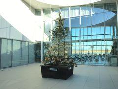 岩国錦帯橋空港の中庭的存在のスペースにクリスマスツリーが。夜の方がここはキレイなんだろうな。