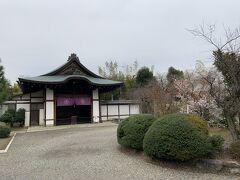 京都山科の勧修寺に到着しました。勧修寺は900年創建のお寺です。 また、右側には寒桜も咲いております。
