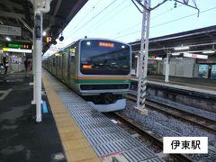 18:31 伊東駅に戻りました。 この時間は、東京方面の直通列車があるのです。  普通1936E.籠原行 伊東.18:44→川崎.20:40 [乗]JR東日本.サロE230-1064