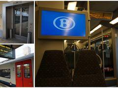 """ブリュッセル北駅にエレベーターがあってホッ。 中央駅へは、ミディ行きのICで移動。 車内の""""B""""のロゴに、ベルギーに来たことを実感します。"""