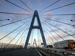 東名から伊勢湾に入り7時に名港東大橋を通過