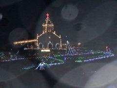 長崎から戻ってきて、クリスマスイルミネーションを見るため 土砂降りの雨の中を崎津教会へ車を走らせてる途中 大江教会のイルミネーションを発見。