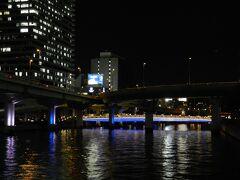 渡辺橋の橋上から高速道路の下で青白く光って見えるのは「中之島ガーデンブリッジ」です。
