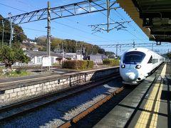 JR日豊線・杵築駅 1番線ホームから入線してきているソニック号を撮影 杵築駅から博多駅まで新幹線を乗り継ぎをせず1時間54分の所要時間
