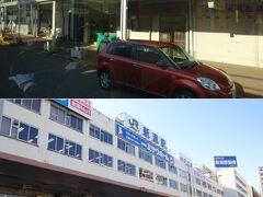 フェリーターミナルからは、路線バスで街へ。  これは雁木造り? いや、ただのアーケード商店街か。   JR新潟駅前に到着。  駅に着いたけど、まずはここから少し歩く。  10分ほどで、目的のGSに到着。ニコニコなレンタカーを受領。走り出す。