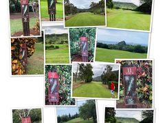 この日のゴルフは、マカハバレーカントリークラブ。ワイキキからハイウエイH1を使って約50分~1時間です。コースにある各ホールのコースの表示の看板にはハワイの植物の名前がそれぞれつけられています。