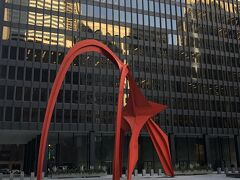ここから プラプラ街歩き Federal Center前の彫像 フラミンゴ ビルが建設されるだけでは 街が殺伐とするので 高層ビルを 建築の際にはビルの前に公園か野外彫像を置くように 市が決めたためと 歩き方に書いてありました