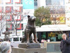 渋谷のシンボル 忠犬ハチ公  相変わらずの人気で、写真撮影する人が行列を作っていて途切れません。