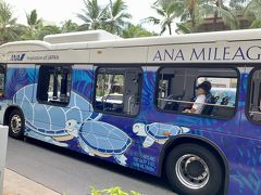 青組サービスのホヌバス走ってました~~  DFSからアラモアナSC ま、ANAに乗るのは微妙だし アラモアナSCにも行かないから。。見るだけ
