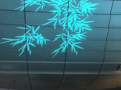 羽田空港の天井の模様。 見とれる私たち、お上りさん夫婦です。