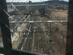 帰りは駅のほうから帰ってみました。 歩道橋から電車が行くのがみえます。