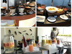 『Knolls』のテラスエリアにあるビュッフェ。 ジュースバーでは、豊富な種類のフルーツジュースがあり、迷ってしまいます(^^)。Today's Juice のみ、その場で作ってくれました。 写真の他に、ライブキッチン(卵料理&麺コーナー)もありました。